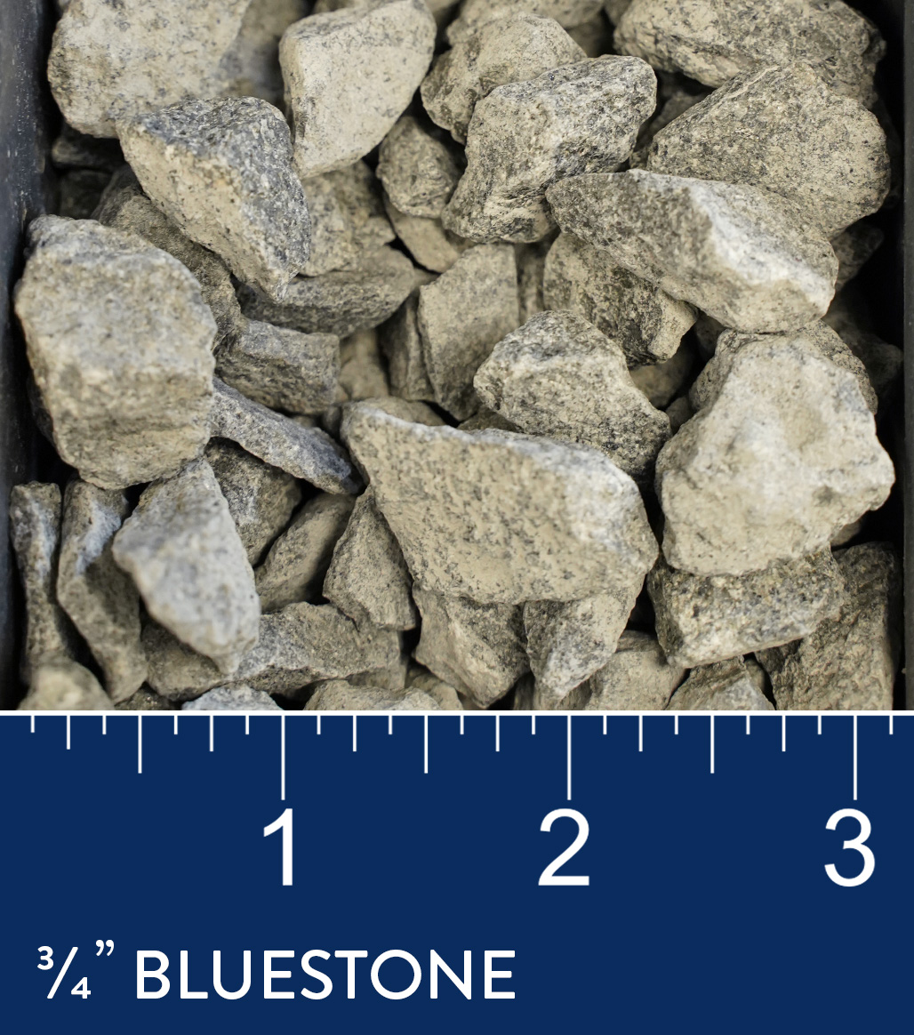 "3/4"" Bluestone 1/2"" available at J&J Materials"