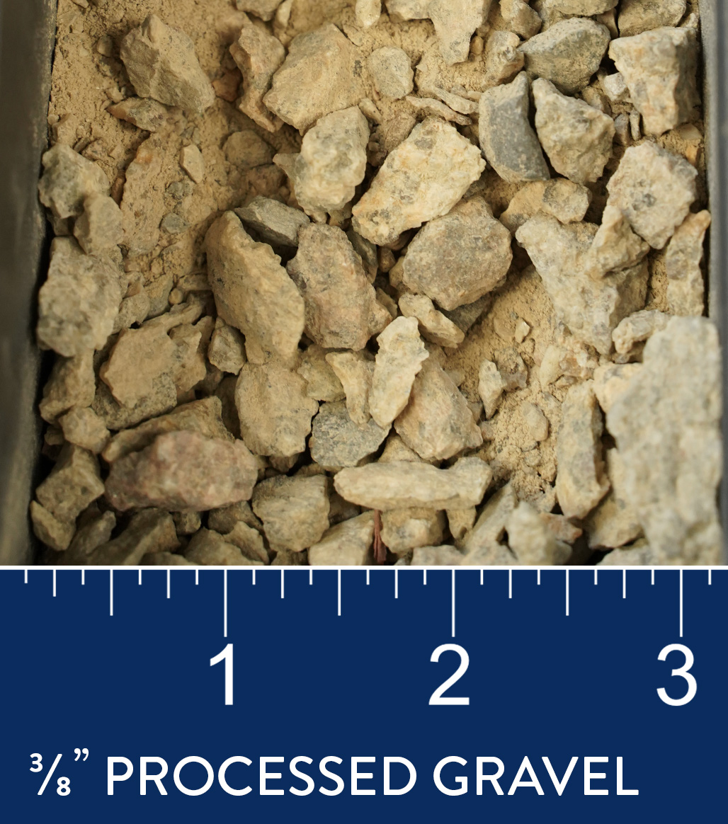 "3/8"" Processed Gravel available at J&J Materials"