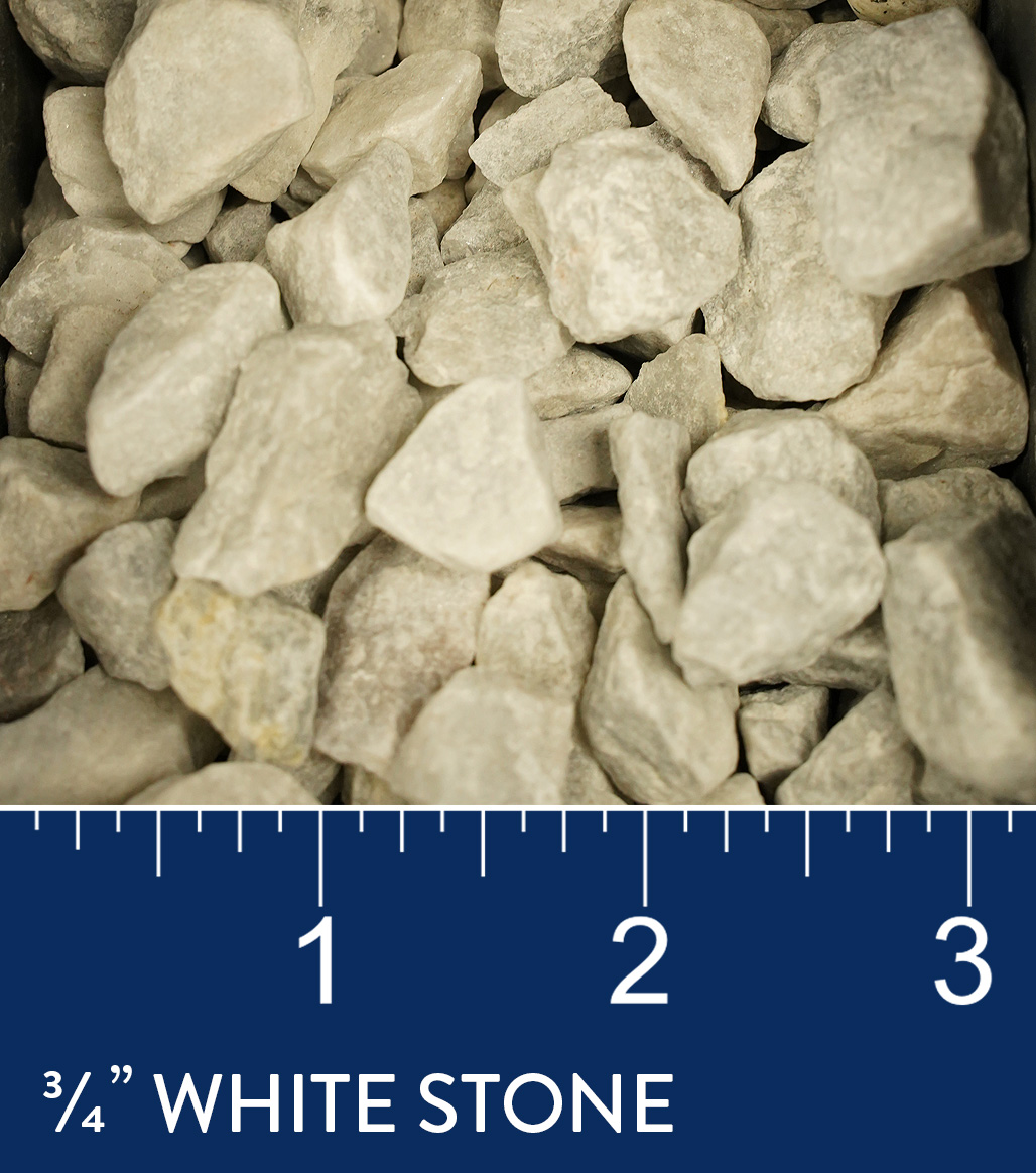 "3/4"" White Stone available at J&J Materials"